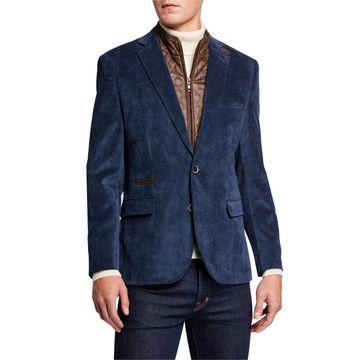 Men's Micro Corduroy Sport Coat w/ Zip-Out Bib