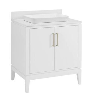 allen + roth Greer 30-in White Semi-recessed Single Sink Bathroom Vanity with White Engineered Stone Top   1483VA-30-201