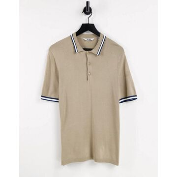 Only & Sons knitted polo shirt with tipping in beige-Neutral