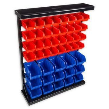 Stalwart 47-Compartment Storage Rack Organizer in Red/Blue