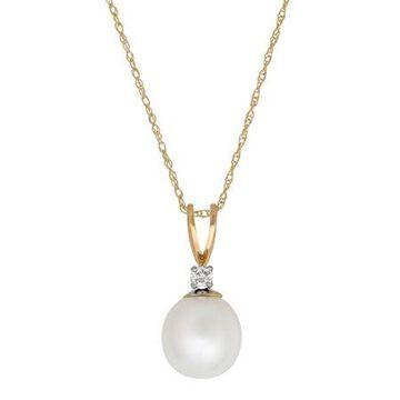 Sofia Sofia Womens Diamond Accent Genuine White Cultured Freshwater Pearl 14K Gold Pendant Necklace Family