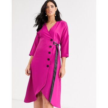 Liquorish midi wrap dress with button down detail and belt-Pink