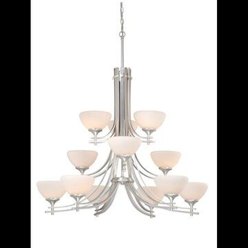 Vaxcel Lighting SE-CHU012 Sebring 12 Light Three Tier Chandelier with Frosted Glass Shades - 37.25 Inches Wide Brushed Nickel Indoor Lighting