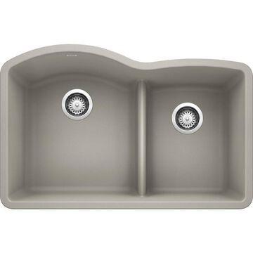 BLANCO Diamond Undermount 32-in x 20.84-in Concrete Gray Double Offset Bowl Kitchen Sink
