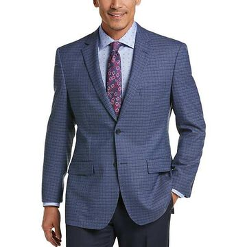 Pronto Uomo Platinum Men's Modern Fit Sport Coat Blue Check - Size: 46 Long - Only Available at Men's Wearhouse