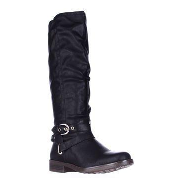 XOXO Womens Martin-Wide Calf Closed Toe Knee High Riding Boots