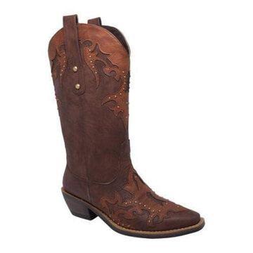 Women's AdTec 8608 13in Western Pull On Dark Brown/Brown Faux Leather