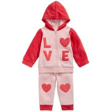 First Impressions Baby Girls 2-Pc. Love Minky Hoodie & Pants Set, Created For Macy's