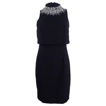 Aidan Mattox Women's Beaded Popover Dress - Black