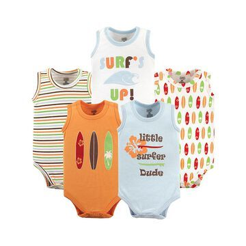 Luvable Friends Boys' Infant Bodysuits Surfer - White & Blue Surfer Lightweight Sleeveless Bodysuit - Set of Five