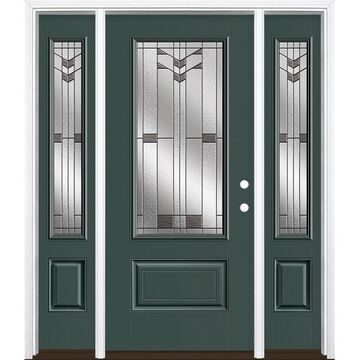 Masonite Frontier 64-in x 80-in Fiberglass 3/4 Lite Left-Hand Inswing Evergreen Painted Prehung Single Front Door with Sidelights with Brickmould