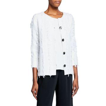 Plus Size Glamour Fringe Button-Front Boxy Jacket