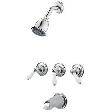 Pfister 01 Series Polished Chrome/White Porcelain 1-handle Commercial Bathtub and Shower Faucet
