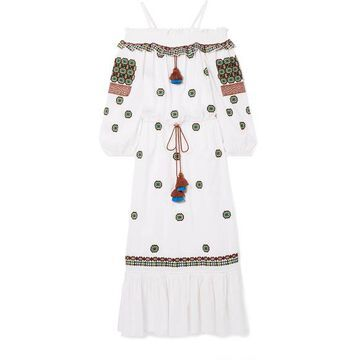 Figue - Helena Cold-shoulder Embroidered Cotton-voile Midi Dress - White