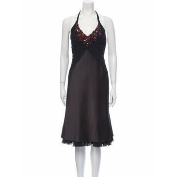 Halterneck Midi Length Dress Black