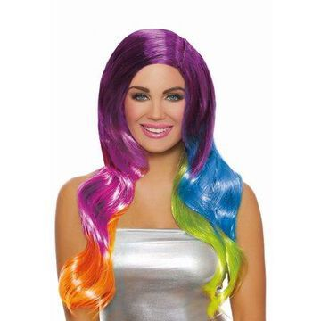Dreamgirl Women's Long Wavy Bright Primary Rainbow Ombre Wig