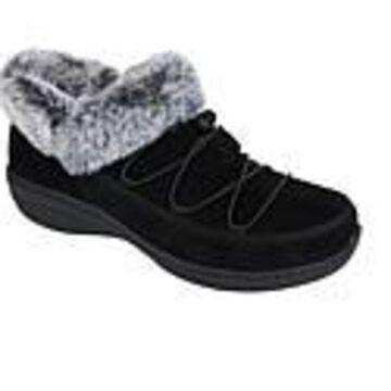 Aetrex Chrissy Waterproof Suede Slip-On Shoe with Faux Fur Trim - Black