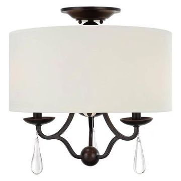 CRYSTORAMA 5973-EB_CEILING Manning 3 Light Bronze Leaf Ceiling Mount