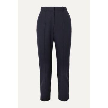 Alexander McQueen - Cropped Grain De Poudre Wool Slim-leg Pants - Navy