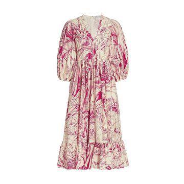 REDValentino Sketch Floral Poplin Midi Dress