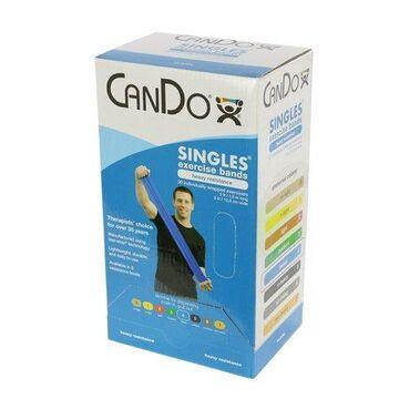 CanDo exercise band, 5-foot Singles, 30-piece dispenser, blue