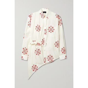 SIMONE ROCHA - Asymmetric Ruffled Embroidered Cotton-poplin Shirt - Ivory