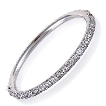 David Yurman Limited Edition White Gold Diamond Pave Cable Bangle Bracelet