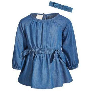 First Impressions Toddler Girls 2-Pc. Gathered Denim Dress & Headband Cotton Set
