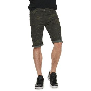 Men's XRAY Slim-Fit Washed Roll-Up Denim Shorts, Size: 30, Green