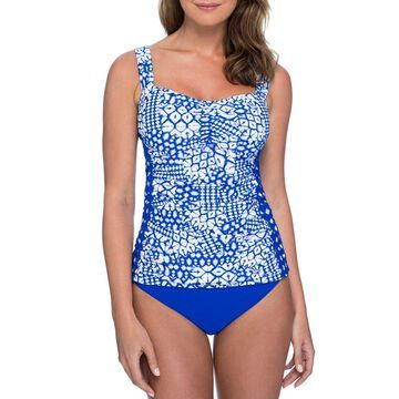 Plus Size Diamond Batik Ruched Tankini Swim Top