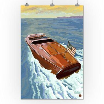 Wooden Boat on Lake - Lantern Press Poster (24x36 Giclee Gallery Print, Wall Decor Travel Poster)