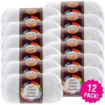 Lion Brand 24/7 Cotton Yarn - White, Multipack of 12
