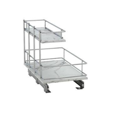 Household Essentials Faux Marble 2-Tier Sliding Cabinet Organizer