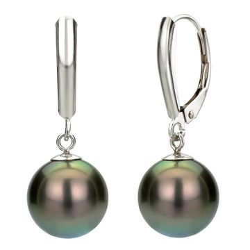DaVonna Silver Black Tahitian Pearl Leverback Earrings (10-11 mm)