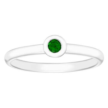 Boston Bay Diamonds Sterling Silver Bezel Set Emerald Stack Ring, Women's, Size: 7, Green