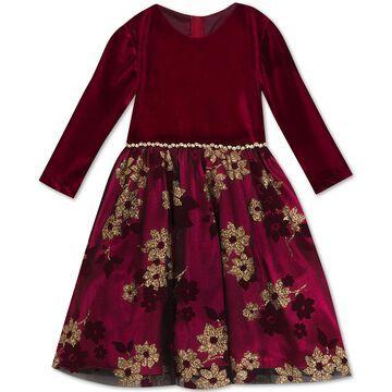 Little Girls Glitter-Print Velvet Dress