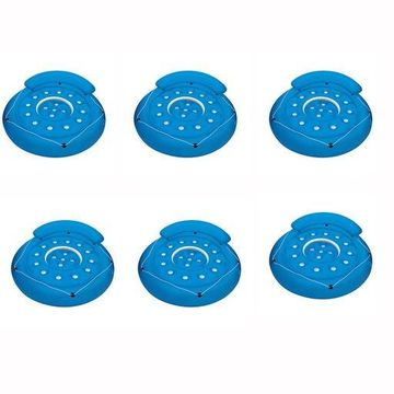 ''Poolmaster Convertible Swimming Pool Inflatable Island Float, Blue (6 Pack)''