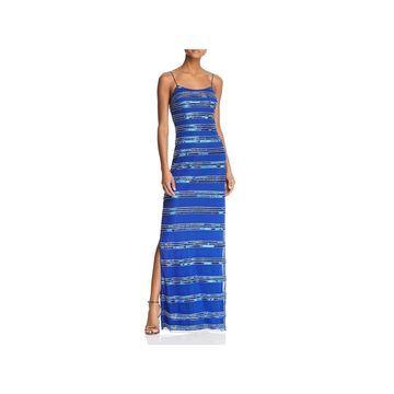Aidan Mattox Womens Evening Dress Beaded Striped