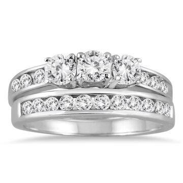 Marquee Jewels 10k White Gold 1 1/2ct TDW 3-stone Diamond Bridal Set