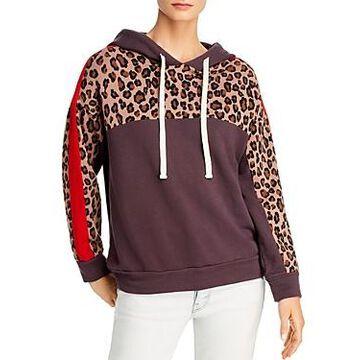 Monrow Leopard-Panel Hooded Sweatshirt