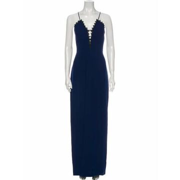 V-Neck Long Dress w/ Tags Blue