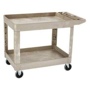 RUBBERMAID FG452089BEIG Structural Foam Utility Cart with Deep Lipped Plastic Shelves, Flat, 2 Shelves, 500 lb