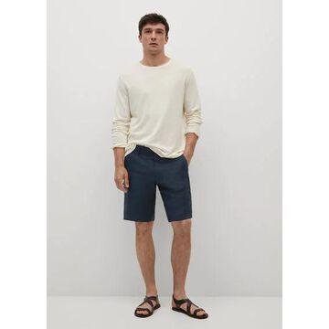 MANGO MAN - 100% linen shorts dark navy - 32 - Men