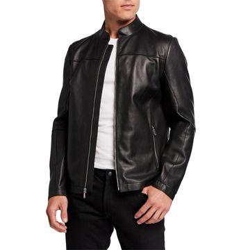 Men's Bonded Leather Racer Jacket