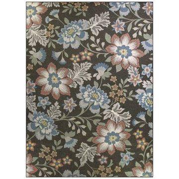 Mainstays Gray Floral Nylon Loop Pile Print Area Rug or Runner