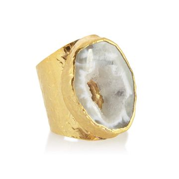 American Coin Treasures 24k Gold Agate Cigar Ring