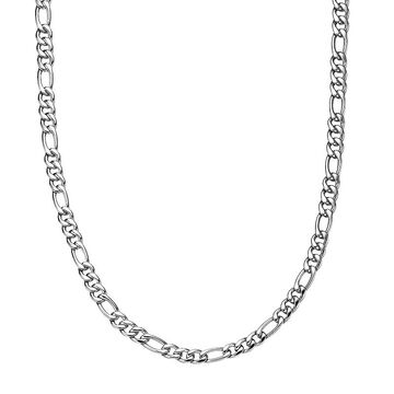 """Men's LYNX Stainless Steel Figaro Chain Necklace, Size: 22"""", White"""