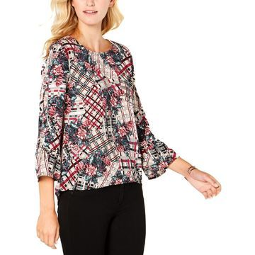 NY Collection Womens Petites Printed Studded Blouse