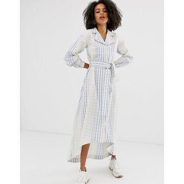 ASOS WHITE blue stripe belted midi shirt dress