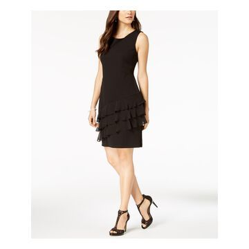 CONNECTED APPAREL Womens Black Tiered Ruffles Sleeveless Jewel Neck Above The Knee Sheath Cocktail Dress Size: 14